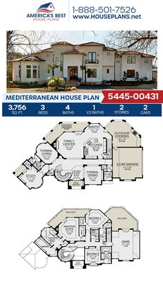 If you love the Mediterranean style, get to know Plan 5445-00431. It is complete with 3,756 sq. ft., 3 bedrooms, 4.5 bathrooms, a breakfast nook, a kitchen island, an open floor plan, a formal living room, a media room, and a study. #mediterraneanhome #architecture #houseplans #housedesign #homedesign #homedesigns #architecturalplans #newconstruction #floorplans #dreamhome #dreamhouseplans #abhouseplans #besthouseplans #newhome #newhouse #homesweethome #buildingahome #buildahome Mediterranean House Plans, Mediterranean Architecture, Mediterranean Style, Best House Plans, Dream House Plans, House Floor Plans, Stucco Exterior, Mansions Homes, Formal Living Rooms