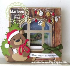 Die Cut Christmas Cards, Happy Merry Christmas, Xmas Cards, Felt Christmas Decorations, Christmas Card Crafts, Christmas Art, Marianne Design Cards, Pot A Crayon, Bear Card