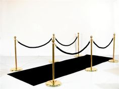 1920s Party Theme | Art Deco Party Props | Roaring Twenties Party Ideas: Black Carpet Walkway (Carpet, 6xStands, 4xRopes)