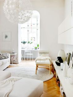 #Ikea #Maskros pendant in #white living room.