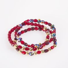 This 3 strand stretch bracelet has a mixture of berry faceted beads with gold finished metal beads. It is great to wear alone or layer with the other berry bracelets.