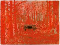 Kim Dorland, Picnic Table, 2012, oil and wood on panel, 72 x 96 inches