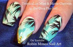 NEW! #MINT #diva #nails #nailart #design #tutorial #palmtrees #summer2015 #summer #trendy #teal #chevron #tropical #naildesign #cute #fun #pretty