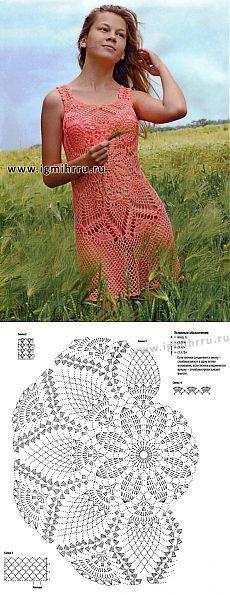 Воздушное летнее платье «Нектарин» с узором «ананасы». Крючок.