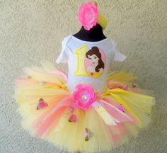 #ST Disney's Princess Belle Tutu Birthday Set by PoshBabyStore.com
