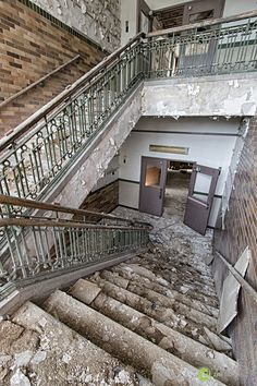Stairwell inside the closed Scullin School in St. Louis, Missouri.