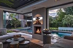 Outdoor Patio Designs, Outdoor Kitchen Design, Pool House Designs, Modern House Design, House Outside Design, Backyard Pavilion, Mansion Interior, Dream House Exterior, Indoor Outdoor Living