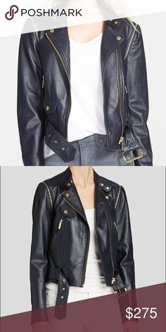 Michael Michael Kors Convertible Leather Jacket PRODUCT DETAILS Navy Fit for the open road and beyond, this convertible moto jacket from MICHAEL Michael Kors is crafted from luxe leather with detachable sleeves for versatile biker-chic style. Lambskin leather; lining: polyester/spandex Band collar with snap tab closure, zip-detachable long sleeves with zip cuffs Asymmetric front zip closure with snap detail, right chest snap flap pocket Two angled front zip pockets, front belt loops…