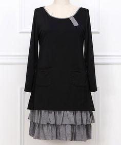 Black & Gray Ruffle Scoop Neck Dress - Plus by Reborn Collection #zulily #zulilyfinds
