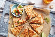 Each quesadilla is packed with a combination of pineapple, cilantro, red onion, shredded smoked pork, and shredded Monterey Jack cheese. Mexican Dishes, Mexican Food Recipes, Dinner Recipes, Ethnic Recipes, Dinner Menu, Group Recipes, Dinner Table, Crepes, Fantasy