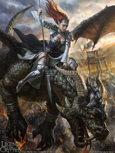 #Warrior #Girl with her #dragon   #fantasy #legend