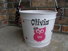 Personalized Owl 10qt Pail / Easter Bucket by TaloolahBelle, $25.00
