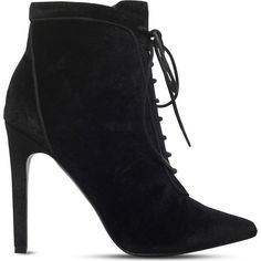 Carvela Glen velvet ankle boots (€105) ❤ liked on Polyvore featuring shoes, boots, ankle booties, black ankle boots, short black boots, high heel ankle boots, black high heel boots and lace up booties