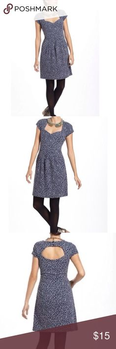 Deletta Caledonia Dress Cute blue gray dress with sweetheart neckline and cut outs by Deletta for Anthropologie. Heavier fabric so more of a winter fall early spring piece. Pretty and versatile with a delicate and feminine flair! Worn a few times but in good condition. Anthropologie Dresses