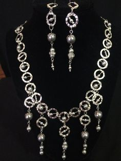 Silver Circle Chain with Gray Pearls and Silver by ScottishDryAd, $43.00