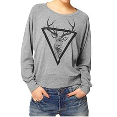 Fashion Women elk Printed Loose Blouse Long Sleeve Shirt T-shirt Blouse Top