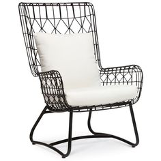 Palecek Capri Black Indoor/Outdoor Wing Chair (€1.095) ❤ liked on Polyvore featuring home, outdoors, patio furniture, outdoor chairs, furniture, accessories, chairs, outdoor patio chairs, indoor outdoor furniture and outside patio chairs