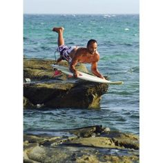 Man Jumping Into The Water On His Surf Board Canvas Art - Ben Welsh Design Pics (13 x 18)