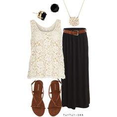 """""""black, brown, & lace"""" by taytay-268 on Polyvore"""