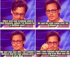 Johnny Depp describing when Robert Downey Jr. came to dinner and Johnny's son, Jack, was in awe of Iron Man!