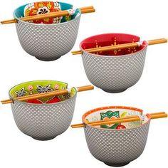 Touch of Silver Floral Ramen Bowl & Chopsticks
