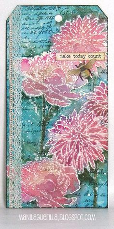 Beulah Bee: resist technique tutorial using Tim Holtz Flower Garden stamp set