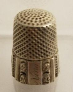 "Antique size 6 sterling silver thimble. Engraved ""Nina"" 0.2 oz | eBay!"