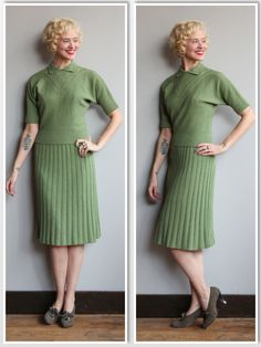 1950s Dress Set // Sage Green Knit 2pc Set // vintage 50s sweater