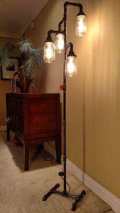 Pipe Floor Lamp 4-fixture Living Room Steampunk Mason Jar More
