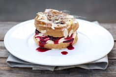 Choux Buns Filled with Cinnamon Baked Damsons and Vanilla Cream - British Larder
