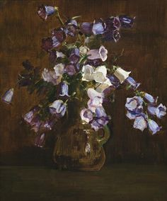 Canterbury Bells, Purple And White, 1928, Arthur Streeton. Australian (1867 - 1943) - Oil on Board -
