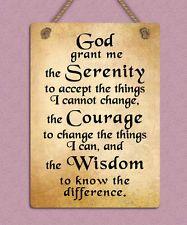 metal hanging sign god serenity inspiring motivational quote wall door plaque