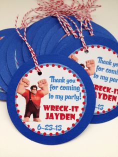 Wreck it Ralph Custom Birthday Party Gift Tags Thank You Tags