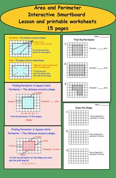 Area and Perimeter Interactive Smartboard Lesson and Printable Worksheets.