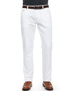 5-Pocket Denim Jeans, White by Salvatore Ferragamo at Neiman Marcus.