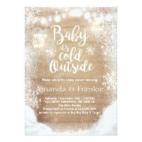 Baby Shower invite Baby it's cold outside Winter ♥ A cute and fun winter baby shower invite! Baby it's cold outside theme with a wood background, lights and snowflakes. Fun baby shower invites - customize your invitations. Christmas Baby Shower, Baby Shower Winter, Baby Winter, Snowflake Baby Shower, Winter Theme, Gender Reveal Party Invitations, Baby Shower Invitations, Birthday Invitations, Babyshower Invites