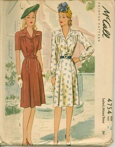 Vintage Sewing Pattern for a 1942 Shirtwaist by shellmakeyouflip, $28.00
