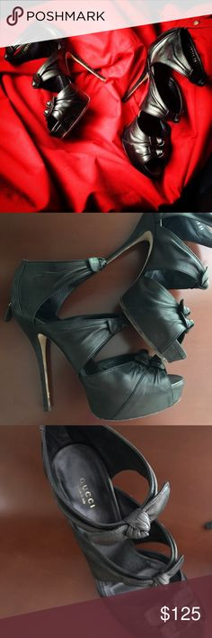 GUCCI sky high heels! All leather! Like booties! These GUCCI shoes are previously loved with signs of wear on the soles and heels. 3 cute little bows on each foot. Covered platform. 💕Everything I sell is 100% authentic 💕 Gucci Shoes Heels