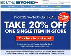 We update the latest information about Bed Bath and Beyond Coupon. Get your coupons easily on our website.