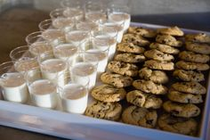 RootsTech Opening Social March 2013 - Chocolate Chip Cookies and Milk dessert tray for guests.  #lecroissantcatering #funeventideas #cookiesandmilk #cuteweddingideas