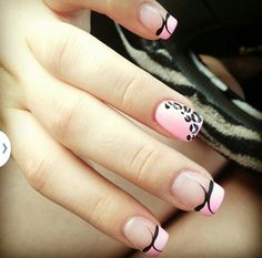 Cute acrylic nails! Pink and leopard french tip.