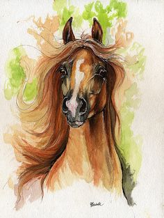 Just Dream On- chestnut arabian horse watercolor painting