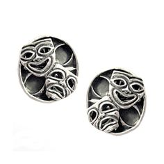 solid sterling silver 925 drama mask theater comedy tragedy cufflinks