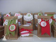 Advent Calendar utilizing Santa Stache and 25 Days stamp set. Stampin Up Adventskalender Weihnachten 24 Türchen Santas Stache 18