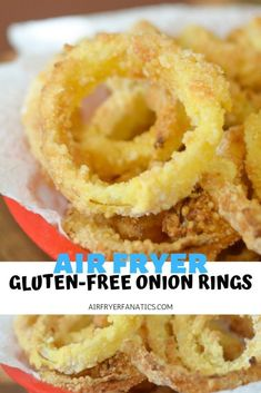 Make a delicious side dish with these Gluten-Free Air Fryer Onion Rings. These are perfect paired with a hamburger! Make a delicious side dish with these Gluten-Free Air Fryer Onion Rings. These are perfect paired with a hamburger! Air Fryer Recipes, Air Fryer Dinner Recipes, Donut Recipes, Snack Recipes, Free Recipes, Ninja Recipes, Gf Recipes, Copycat Recipes, Appetizer Recipes