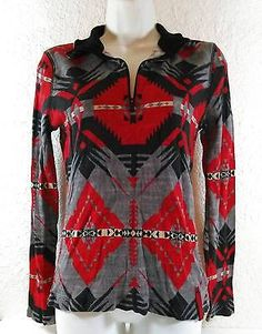 L-RL Lauren Active Ralph Lauren Thermal Long Sleeve Tribal Blouse Medium B258