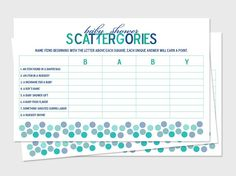 Printable Baby Shower Scattergories Game Boards by MadeToCelebrate, $5.00