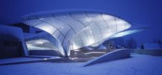 Zaha Hadid Architects, Zaha Hadid, Innsbruck, Austria, organic form, fluidity, mountain chain, glacier, shell, floating roof