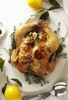 Roast Chicken with Thyme-Scented Gravy from familycircle.com #myplate #chicken #inseason