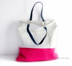 White linen tote pink knitted bag bright neon purse navy blue leather handles colour block memake handmade handbag op Etsy, 47,42 €